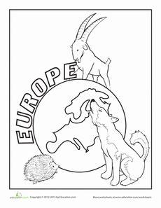 Europe Coloring Page Worksheet