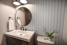 Dark and Dated to Bright and Modern – Powder Bath Remodel – CH Design Co. Budget Bathroom Remodel, Bath Remodel, Kitchen Remodel, Home Design, Interior Design, Design Ideas, Small Bathroom Wallpaper, Bathroom Small, Gray Painted Walls