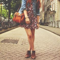 Denim + short floral + brown boots.