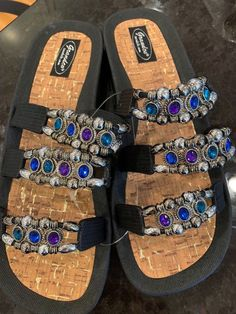 1ea13d51b Grandco Sandals Jeweled Slide Sandals - Black Sz 11 NEW