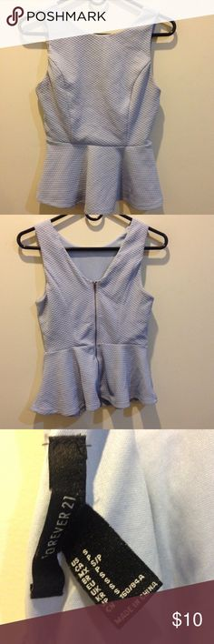 Forever 21 Lavender Peplum Zipper Tank Top Very cute, zipper down the entire length of back for closure- inside is not lined and outside has a texture and is lavender in color! Size small. Forever 21 Tops Tank Tops