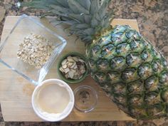 Ingredients for Pineapple Almond Peppercorn Parfait from my newest book S.A.S.S! Yourself Slim