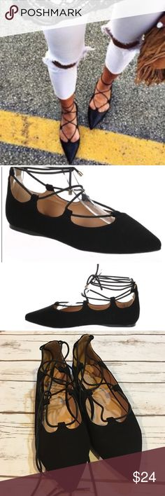 Black Pointed Toe Lace Up Flats Black pointed toe Lace up flats. Worn once. Faux suede material. Size 8. In excellent condition Shoes Flats & Loafers