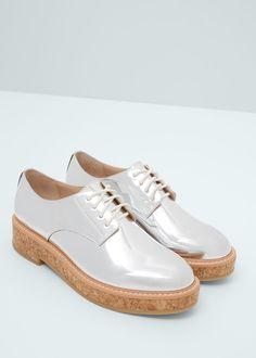 Metallic oxford schoenen | MANGO