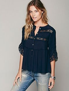 Pintuck Crochet Inset Buttondown | Free People
