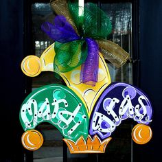 Mardi Gras Door Hanger by LooLeighsCharm on Etsy, $45.00