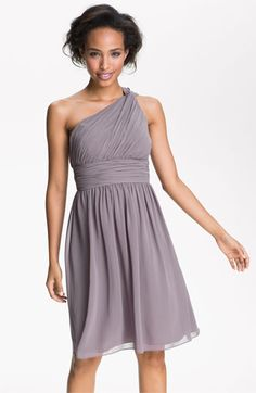 lovin' grey for the 'maids!   Donna Morgan One Shoulder Chiffon Dress available at #Nordstrom #weddings