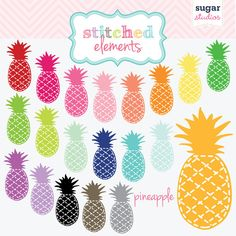 Stitched Pineapple Digital Clipart  20 Pieces for by sugarstudios, $4.00