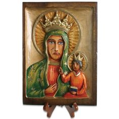 Wood Carved Icon - Black Madonna, Matka Boska Czestochowska
