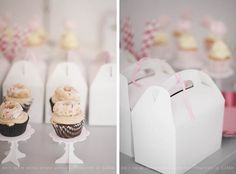 Cupcakes on pretty stands for take the cake boxes from the blog Fraeulein-Klein