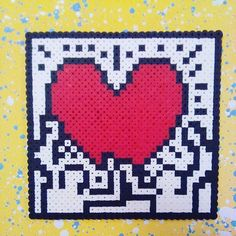 Keith Haring perler beads by jaynechains Hama Beads Design, Hama Beads Patterns, Beading Patterns, Perler Bead Art, Perler Beads, Pixel Art, Pixel Beads, Geek Decor, Keith Haring