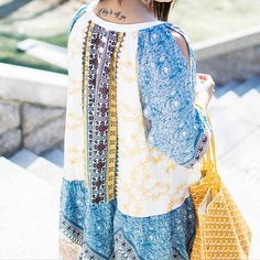 Show a little skin � #summeriscoming   http://liketk.it/2heSg - shein- vintage print dress - under 25 - ootd - spring - goyard - blue yellow