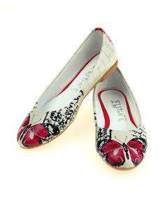 Look at this #zulilyfind! White & Red Butterfly Ballet Flat by Goby #zulilyfinds