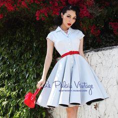ENVÍO GRATIS Le palais de la edición limitada de la vendimia elegante azul claro botones de la raya delgada vestido de una sola pieza en Vestidos de Ropa y Accesorios de las mujeres en AliExpress.com   Alibaba Group