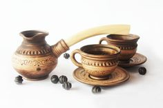 Ceramic turkish coffee Set Coffee maker Hand by SmilingAlligator