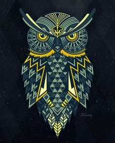 This is a cool vector illustration of an owl. I like the complexity of the owl and also that it is perfectly symmetrical. I think that the complex pattern really works well for the piece. The color scheme is also really nice. Owl Illustration, Animal Illustrations, Owl Artwork, Owl Vector, Owl Tattoo Design, Owl City, Cute Owl, Skull Art, Altered Art