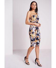 Strapless Midi Dress Black Floral - Dresses - Midi Dresses - Missguided