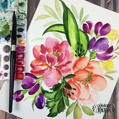 """3,961 Likes, 40 Comments - Jeannie Dickson (@honeybopsdesigns) on Instagram: """"Evening florals to say goodbye to #summer . . . #watercolor #watercolorpainting #art #artwork…"""""""