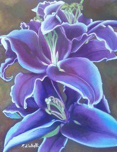 Dipinto, olio su tela, giglio viola e blu, 24x30 cm, pronto da appendere, opera originale, idea regalo per lei, arredamento camera da letto #bedroomdecor #oilpainting #purplelily #mothersday #festadellamamma # #arte #dipinti #compleanno #pasqua #pitturafloreale #floralpainting #easter http://etsy.me/2FhIgOj
