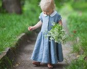 Blue Linen Dress, Kids Fashion, Hand Made Children Clothing, Peter Pan Collar Dress for Girls