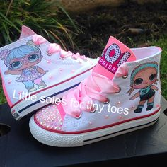 Bling Converse, Bling Shoes, Kids Converse, Dolls Kill Shoes, Doll Shoes, Custom Painted Shoes, Custom Shoes, Creative Shoes, Baby Girl Toys