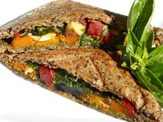 Give the humble cheese toastie a gourmet makeover! Roasted pumpkin is complimented nicely by basil pesto and sundried tomatoes, cashews add crunch and m. Roast Pumpkin, Basil Pesto, Meal Recipes, Main Meals, Sandwiches, Autumn, Snacks, Food, Gourmet