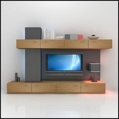 3d modern tv wall unit - TV / Wall Unit Modern Design X_05 Entertainment Center... by Studio 3D Plus