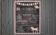 Custom Printable First Birthday Poster Board Sign // Cowgirl // Cowboy // Western // Western Theme // Horses // Cowgirl Theme // 16x20