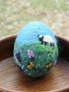 Needle Felted Easter Egg - Spring Decoration - Waldorf Spring Home Decor on Etsy, $34.00
