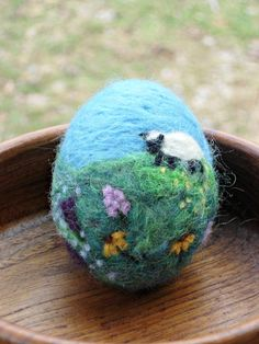 Needle Felted Easter Egg - Spring Decoration - Waldorf Spring Home Decor on Etsy, $34.00