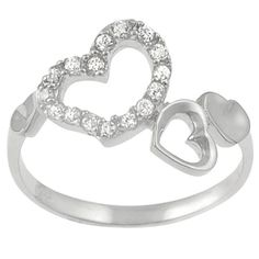 Tressa Sterling Silver CZ Hearts Ring > Price: $11.99 > Sale: $8.99 > Click on the image for details and offers.