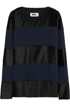 MM6 Maison Martin Margiela Paneled crepe and brushed-sateen top | NET-A-PORTER