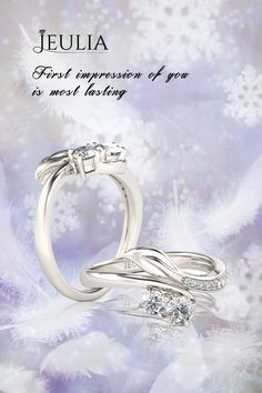 Jeulia Leaf Design Two Stone Round Cut Created White Sapphire Ring, it represents the two lovers staying together...