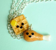 Kawaii Chicken and Waffle Best Friend Necklaces Friendship Miniature Food Jewelry on Etsy, $30.00