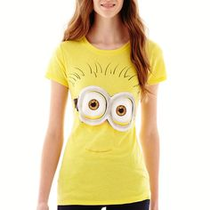 Short-Sleeve Minion Graphic T-Shirt Yellow ($9.99) ❤ liked on Polyvore featuring tops, t-shirts, shirts, v neck graphic tees, v neck tee, short sleeve v neck tee, v neck t shirts and graphic t shirts