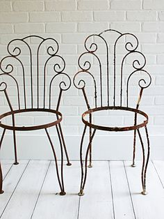 Vintage Garden Chairs  Pair by ZinniaCottage on Etsy, $125.00