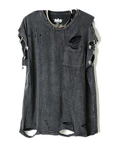 Punk Style Ripped T-shirts with Skeleton Embellishment