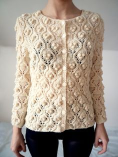 Cardigan knitted white handmade pullover wool sweater by bibatron