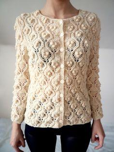 Cardigan pullover fatti a mano bianco lavorato a di bibatron