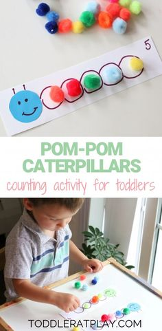 Pom-pom Caterpillars Counting Activity - Toddler at Play