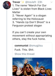 1. this is just more divisive nonsense. these causes should support one another. 2. Hands up dont shoot got used in Hong Kong for protesting too, its a powerful understood symbol, you mad about that? 3. no one is corrupting the meaning here, so what exactly is offensive about this?
