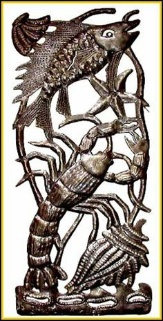 Fish & Lobster Metal Wall Art - Haitian Steel Drum Metal Art by Haiti Cheri Metal Art. $75.99. Haitian steel drum metal art fish and lobster wall hanging . This Haitian fish design is completely hand cut from a flattened steel oil drum with all of the details for the piece expertly worked, with hammer and chisel, into a beautiful piece of collector quality Haitian steel drum art.