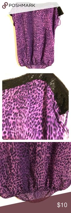 Purple Leopard Print Top This awesome sheer top has a banded hemline & black sequins around the neckline & tops of the sleeves Tops Blouses