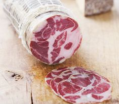 SWEET COPPA IS MADE FROM THE PORK SHOULDER. THIS CUT IS SALTED AND HAND-RUBBED WITH SPICE, STUFFED IN CASING AND DRY-CURED WHOLE. IT IS SIMILAR TO PROSCIUTTO, BUT IT IS DERIVED FROM THE SHOULDER RATHER THAN THE HAM.