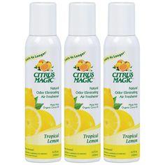Citrus Magic Natural Odor Eliminating Air Freshener Spray Tropical Lemon, Pack of 3 Ounces Each Natural Air Freshener, Home Air Fresheners, Car Freshener, Room Deodorizer, House Smell Good, Citrus Oil, Odor Eliminator, Fragrance Oil, Magic