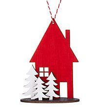 Buy John Lewis Wooden 3D House and Trees, Red/White Online at johnlewis.com