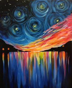 New painting acrylic night wall art Ideas Painting Gallery, Diy Painting, Painting & Drawing, Firefly Painting, Wine And Canvas, Rainbow Painting, Wow Art, Art Plastique, Beautiful Paintings