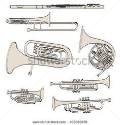 2d cartoon illustraion of brass musical instruments