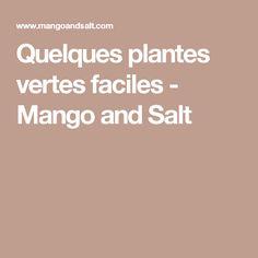 Quelques plantes vertes faciles - Mango and Salt Mango, Salt, Deco, Plant, Manga, Salts, Decor, Deko, Decorating