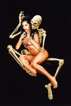 Vamp & Skeleton. Death and the Maiden. Death grim reaper Father Time scythe maiden girl woman dance danse macabre skull skeleton